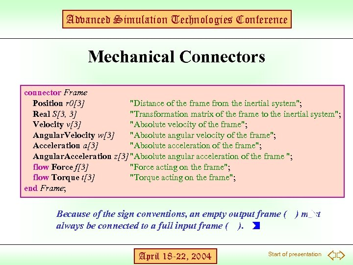 Advanced Simulation Technologies Conference Mechanical Connectors connector Frame Position r 0[3]