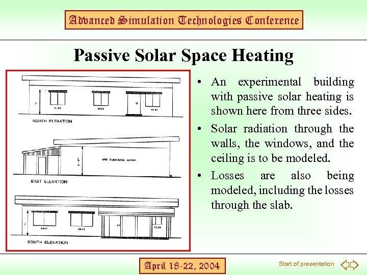 Advanced Simulation Technologies Conference Passive Solar Space Heating • An experimental building with passive
