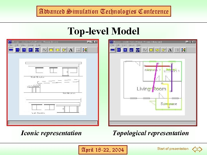 Advanced Simulation Technologies Conference Top-level Model Iconic representation Topological representation April 18 -22, 2004