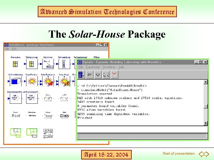 Advanced Simulation Technologies Conference The Solar-House Package April 18 -22, 2004 Start of presentation