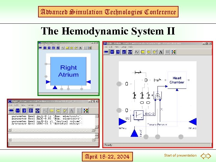 Advanced Simulation Technologies Conference The Hemodynamic System II April 18 -22, 2004 Start of