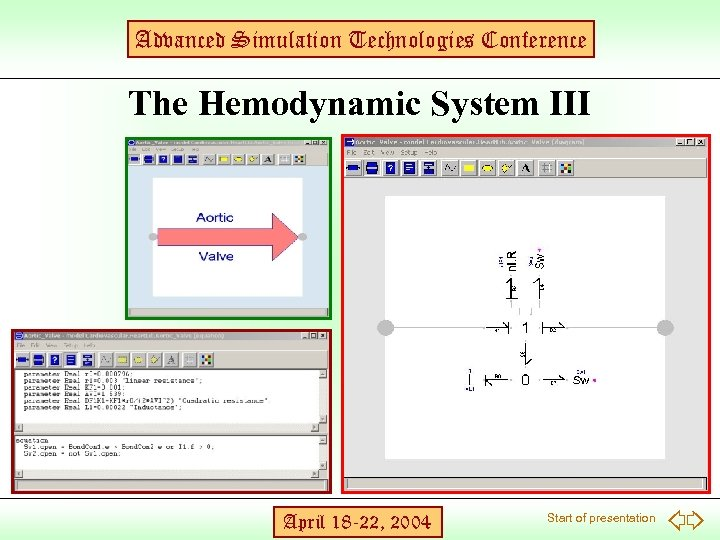 Advanced Simulation Technologies Conference The Hemodynamic System III April 18 -22, 2004 Start of