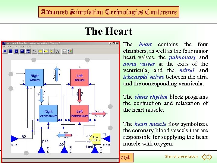 Advanced Simulation Technologies Conference The Heart The heart contains the four chambers, as well