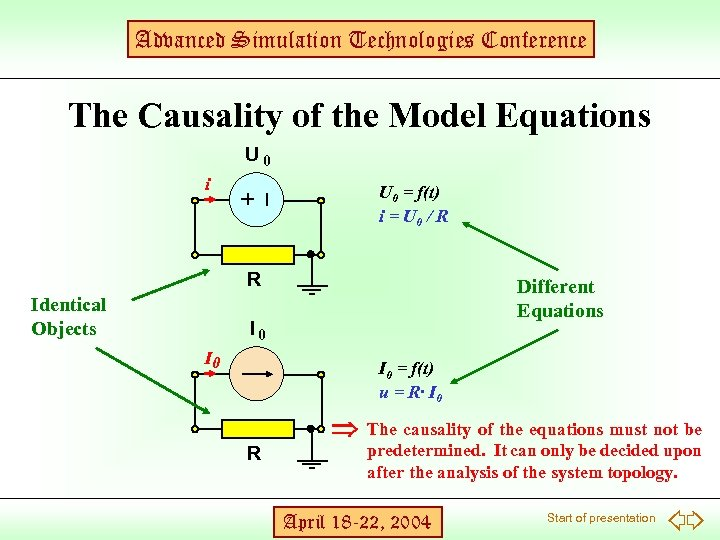 Advanced Simulation Technologies Conference The Causality of the Model Equations U 0 i R