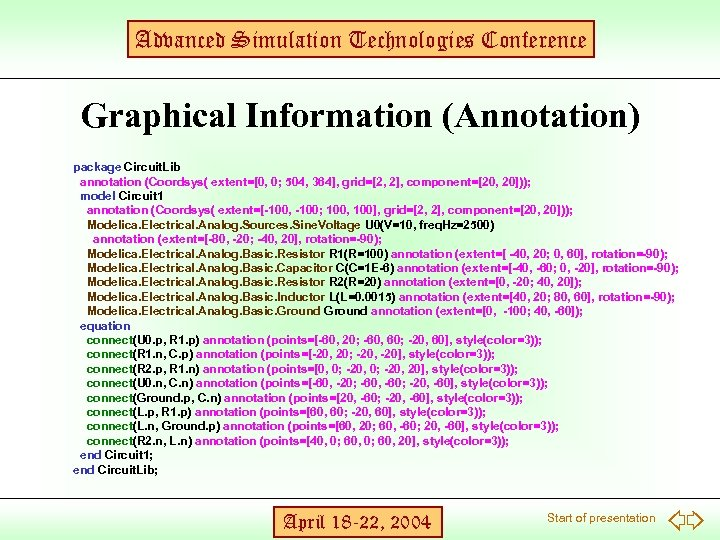 Advanced Simulation Technologies Conference Graphical Information (Annotation) package Circuit. Lib annotation (Coordsys( extent=[0, 0;