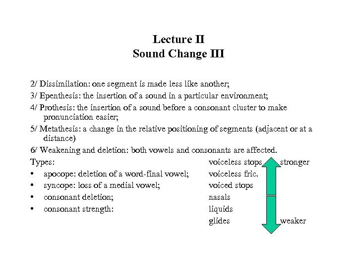 Lecture II Sound Change III 2/ Dissimilation: one segment is made less like another;