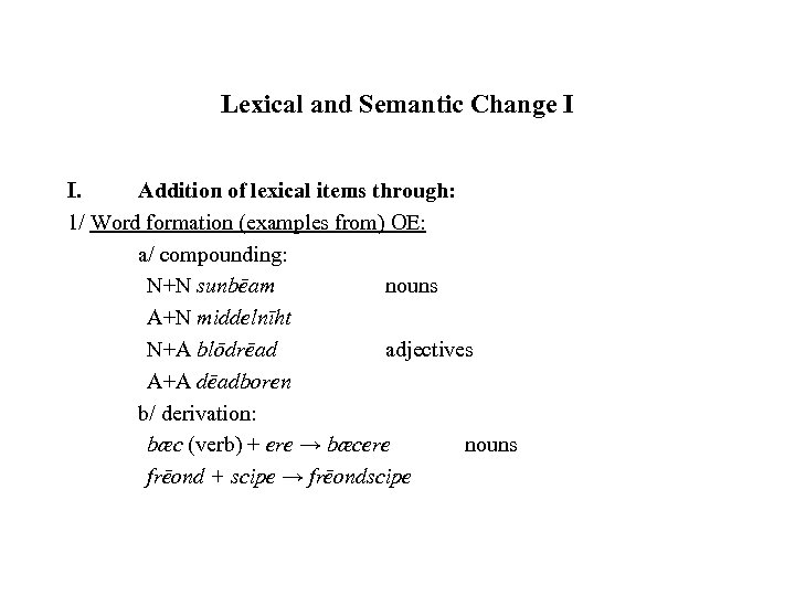 Lexical and Semantic Change I I. Addition of lexical items through: 1/ Word formation