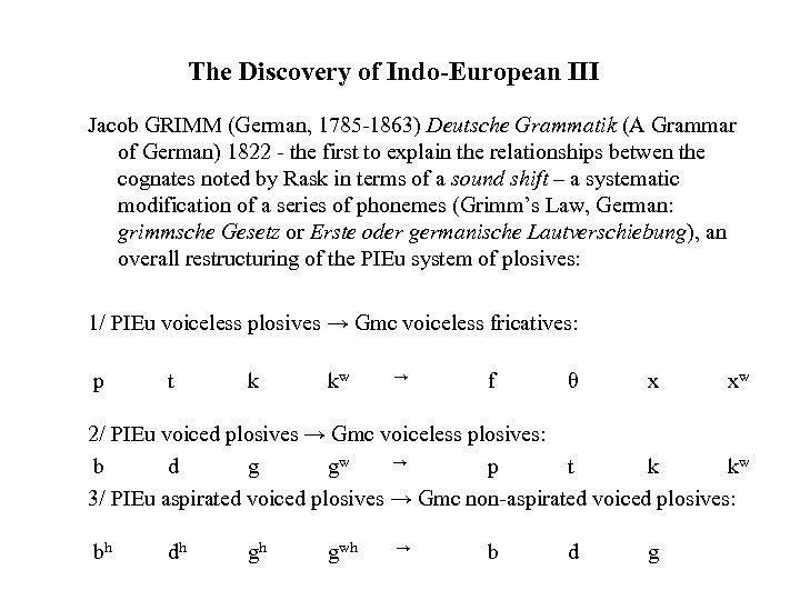 The Discovery of Indo-European III Jacob GRIMM (German, 1785 -1863) Deutsche Grammatik (A Grammar