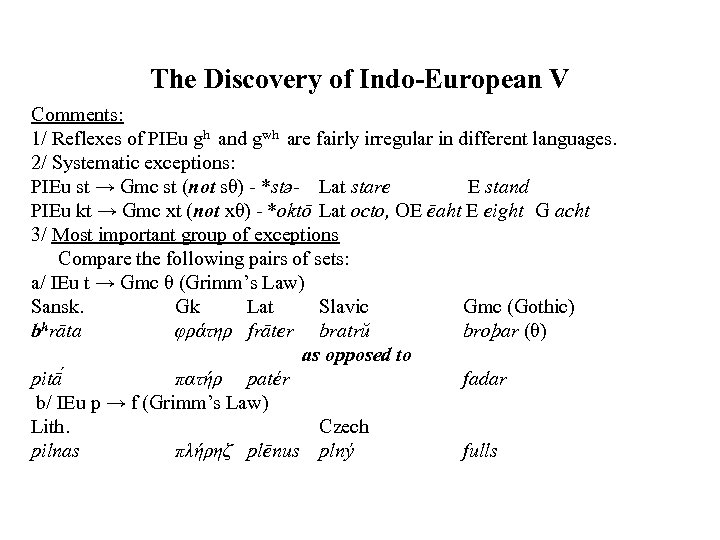 The Discovery of Indo-European V Comments: 1/ Reflexes of PIEu gh and gwh are