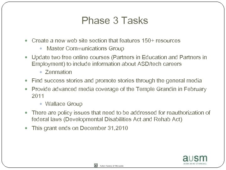 Phase 3 Tasks Create a new web site section that features 150+ resources Master