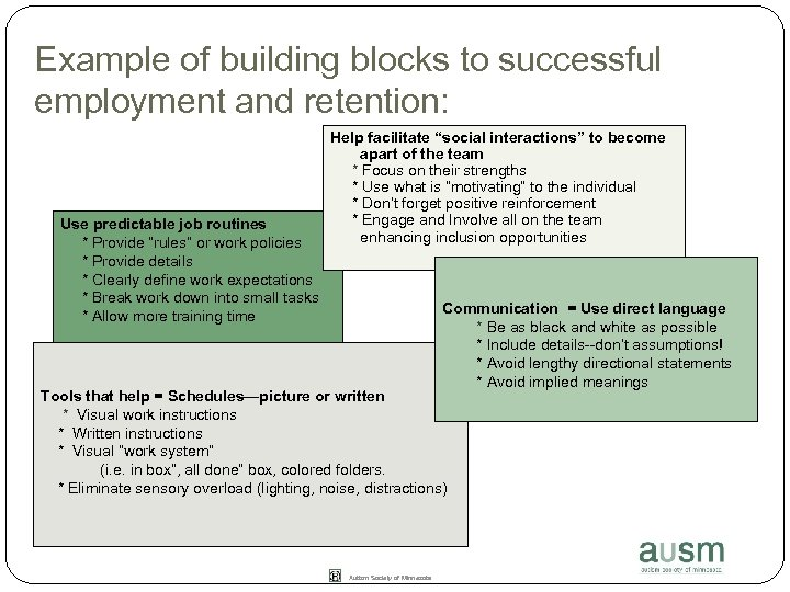 Example of building blocks to successful employment and retention: Use predictable job routines *