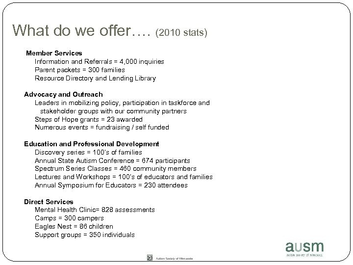 What do we offer…. (2010 stats) Member Services Information and Referrals = 4, 000