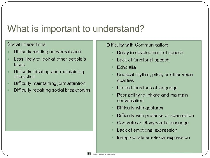 What is important to understand? Social Interactions: Difficulty with Communication: Difficulty reading nonverbal cues