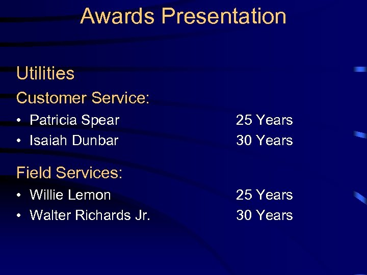 Awards Presentation Utilities Customer Service: • Patricia Spear • Isaiah Dunbar 25 Years 30