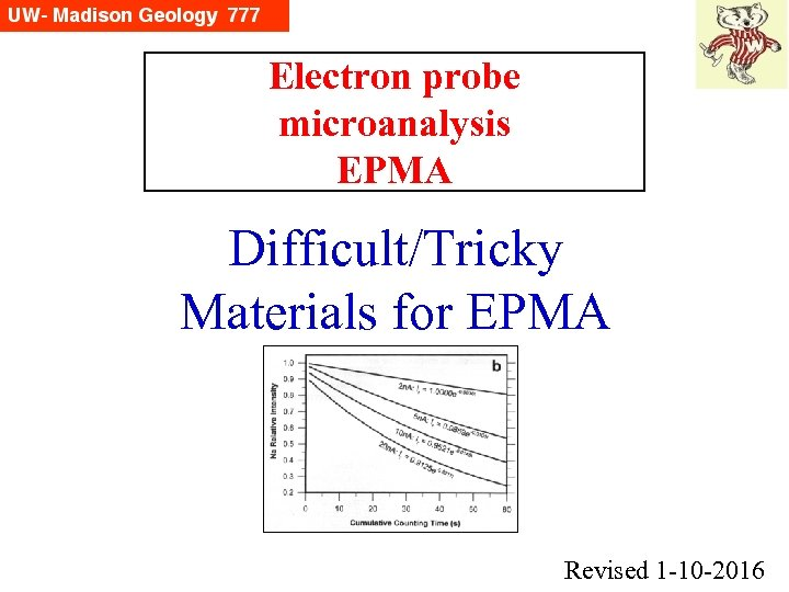Electron probe microanalysis EPMA Difficult/Tricky Materials for EPMA Revised 1 -10 -2016