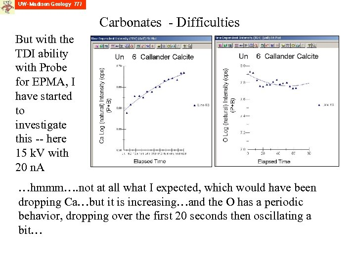 Carbonates - Difficulties But with the TDI ability with Probe for EPMA, I have