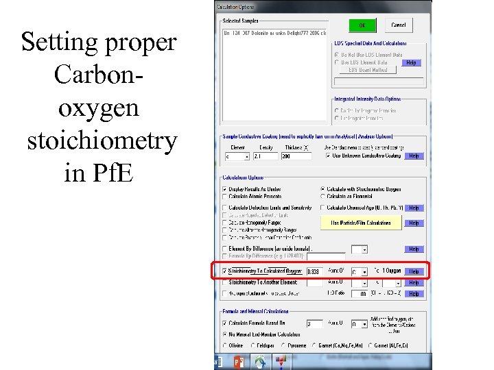 Setting proper Carbonoxygen stoichiometry in Pf. E