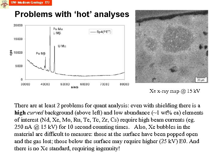 Problems with 'hot' analyses Xe x-ray map @ 15 k. V There at least