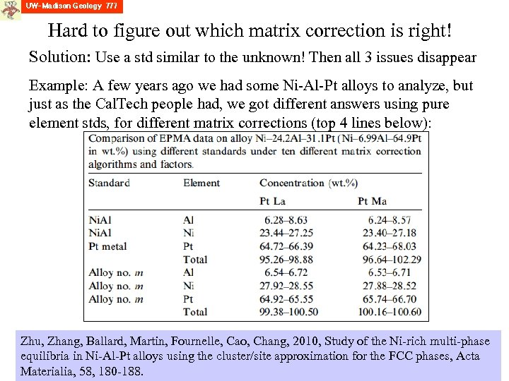Hard to figure out which matrix correction is right! Solution: Use a std similar