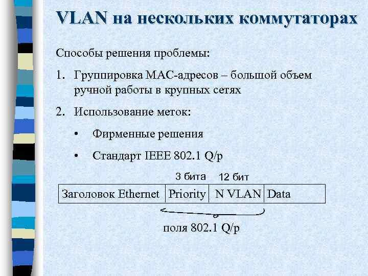 VLAN на нескольких коммутаторах Способы решения проблемы: 1. Группировка MAC-адресов – большой объем ручной