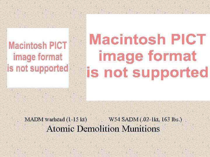 MADM warhead (1 -15 kt) W 54 SADM (. 02 -1 kt, 163 lbs.