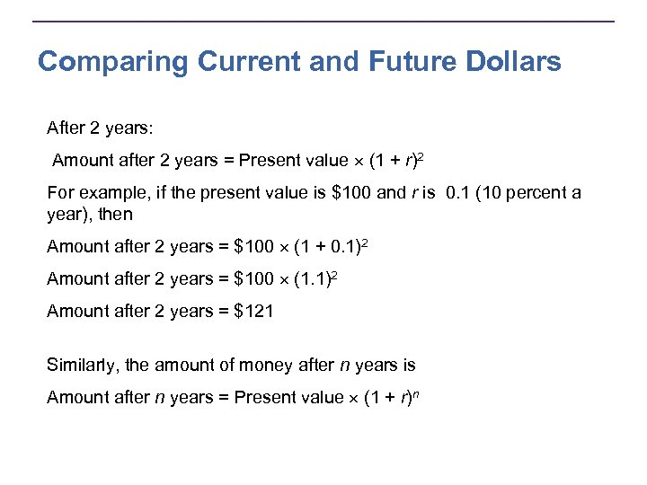 Comparing Current and Future Dollars After 2 years: Amount after 2 years = Present