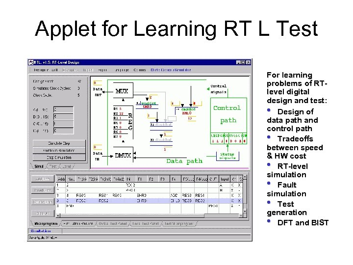 Applet for Learning RT L Test For learning problems of RTlevel digital design and