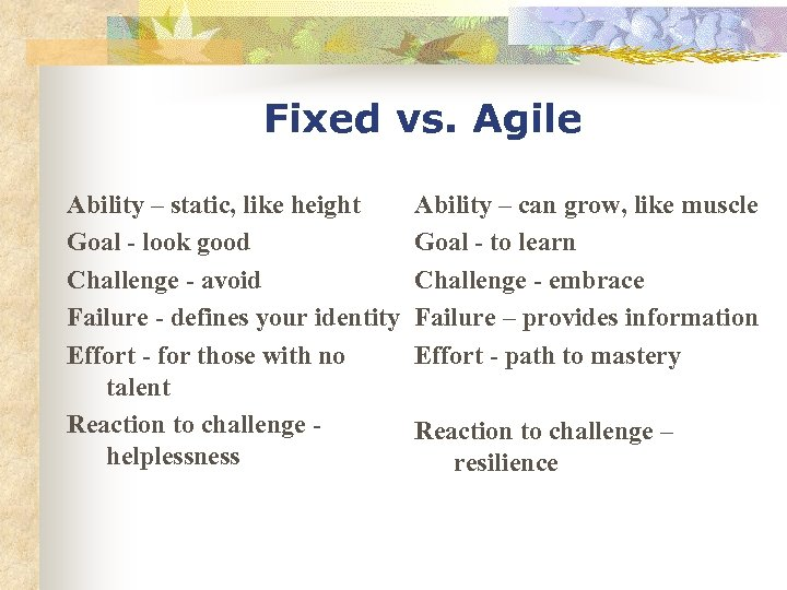 Fixed vs. Agile Ability – static, like height Goal - look good Challenge -