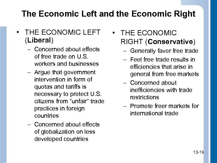 The Economic Left and the Economic Right • THE ECONOMIC LEFT (Liberal) – Concerned