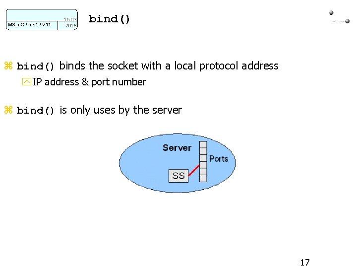 MS_u. C / fue 1 / V 11 16. 03. 2018 bind() z bind()