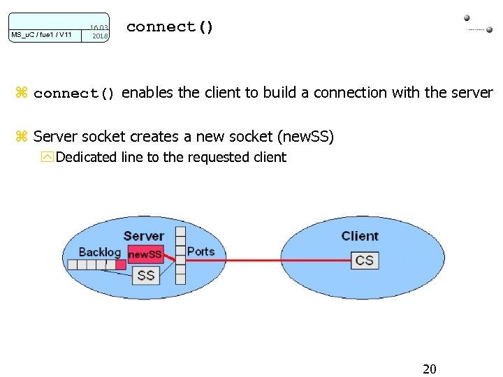 MS_u. C / fue 1 / V 11 16. 03. 2018 connect() z connect()