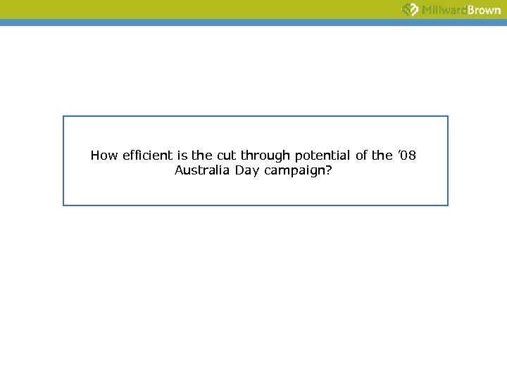 How efficient is the cut through potential of the ' 08 Australia Day campaign?