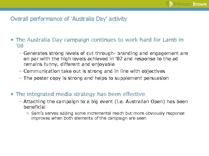 Overall performance of 'Australia Day' activity • The Australia Day campaign continues to work