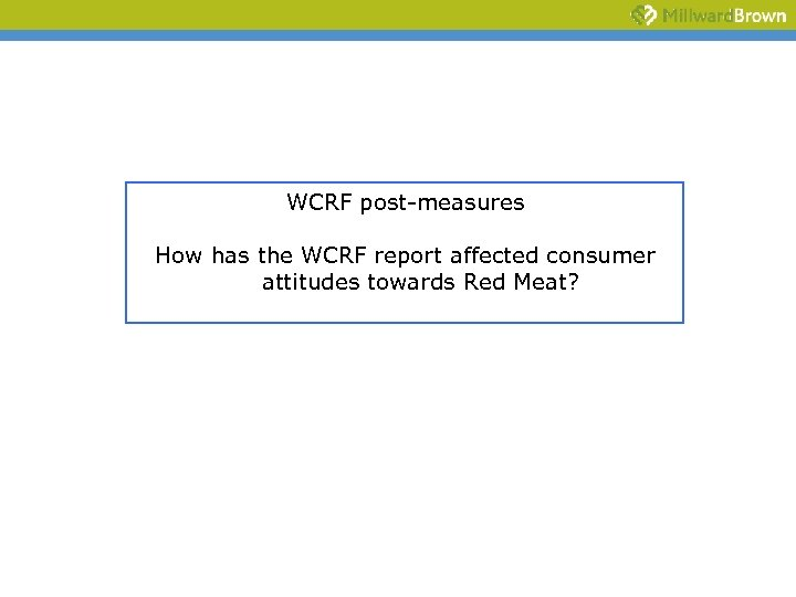 WCRF post-measures How has the WCRF report affected consumer attitudes towards Red Meat?