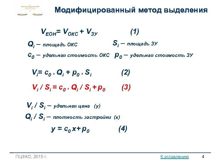 Модифицированный метод выделения VЕОН= VОКС + VЗУ (1) Si – площадь ЗУ Qi –