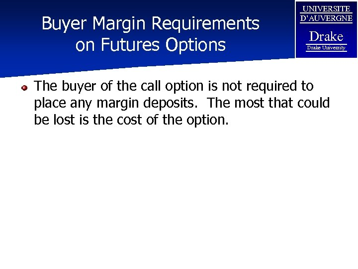 Buyer Margin Requirements on Futures Options UNIVERSITE D'AUVERGNE Drake University The buyer of the