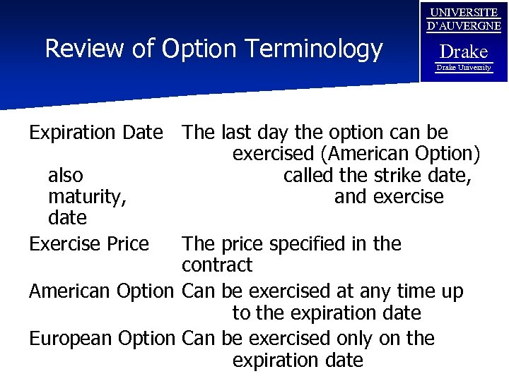 Review of Option Terminology UNIVERSITE D'AUVERGNE Drake University Expiration Date The last day the