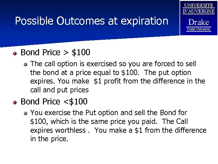 Possible Outcomes at expiration UNIVERSITE D'AUVERGNE Drake University Bond Price > $100 The call