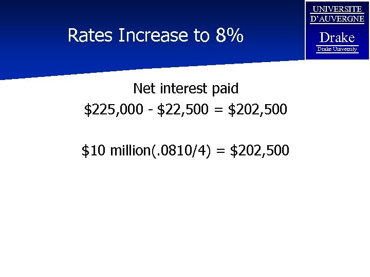 Rates Increase to 8% UNIVERSITE D'AUVERGNE Drake University Net interest paid $225, 000 -