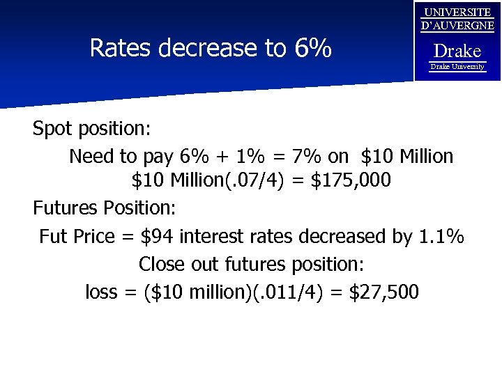 Rates decrease to 6% UNIVERSITE D'AUVERGNE Drake University Spot position: Need to pay 6%