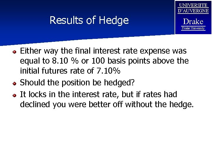Results of Hedge UNIVERSITE D'AUVERGNE Drake University Either way the final interest rate expense