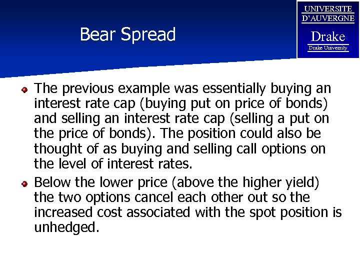 Bear Spread UNIVERSITE D'AUVERGNE Drake University The previous example was essentially buying an interest