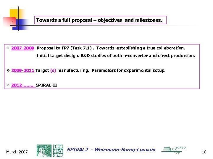 Towards a full proposal – objectives and milestones. v 2007 -2009 Proposal to FP