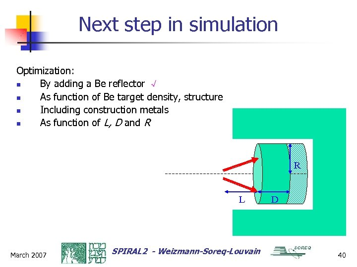 Next step in simulation Optimization: n By adding a Be reflector √ n As