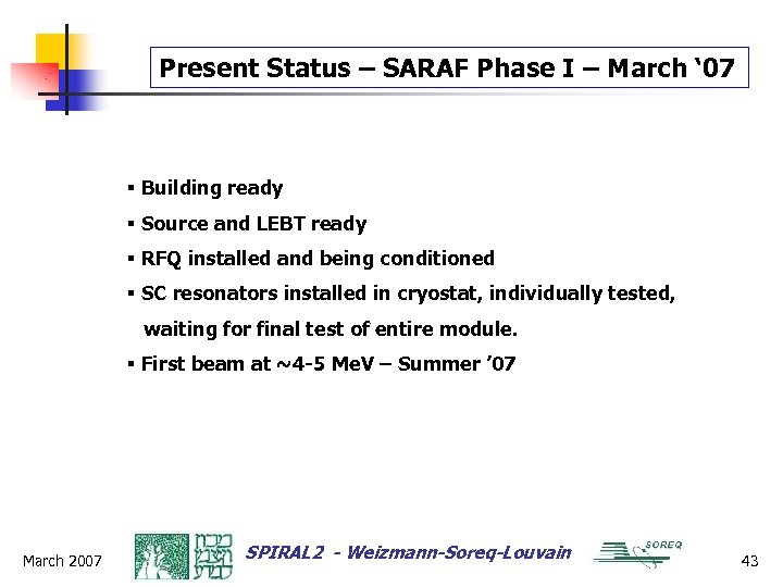 Present Status – SARAF Phase I – March ' 07 § Building ready §