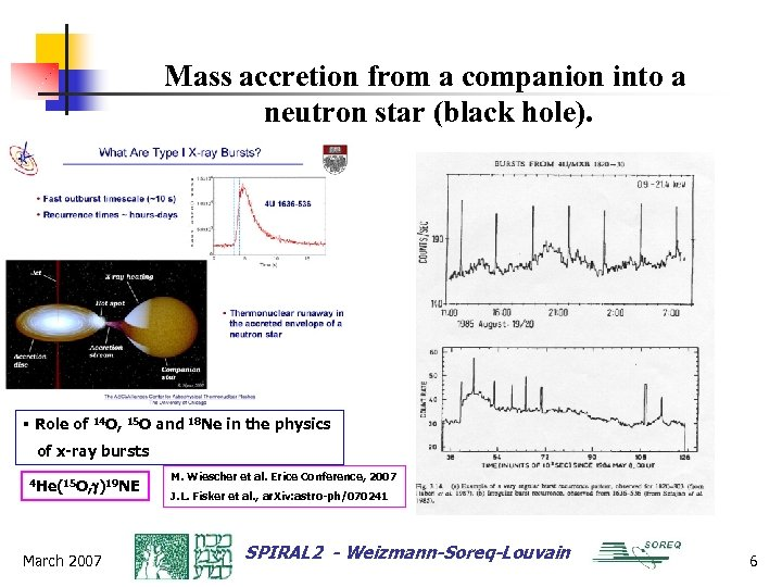 Mass accretion from a companion into a neutron star (black hole). § Role of