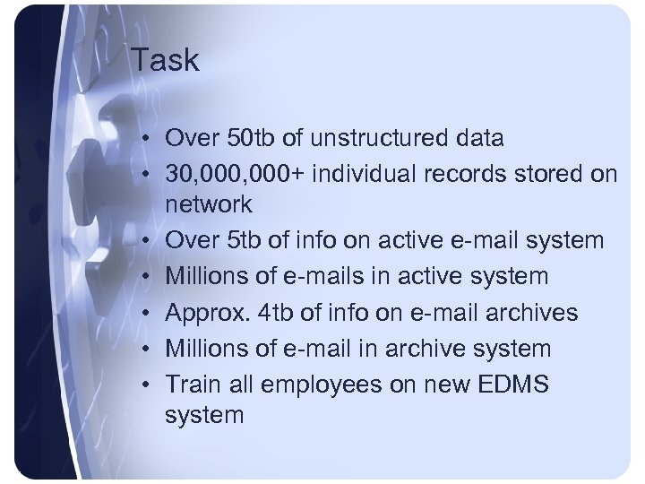 Task • Over 50 tb of unstructured data • 30, 000+ individual records stored