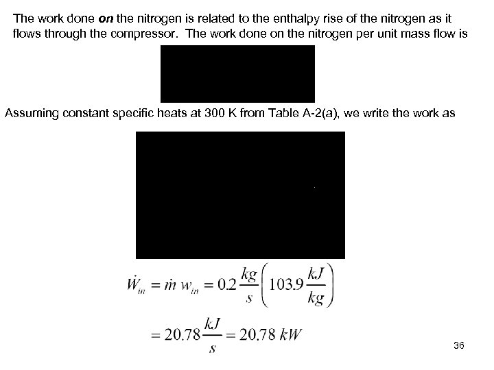 The work done on the nitrogen is related to the enthalpy rise of the