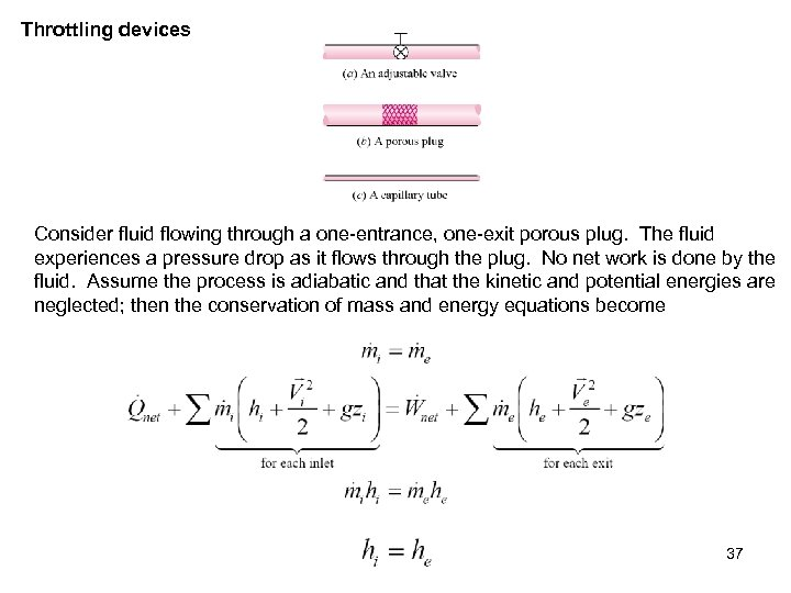 Throttling devices Consider fluid flowing through a one-entrance, one-exit porous plug. The fluid experiences