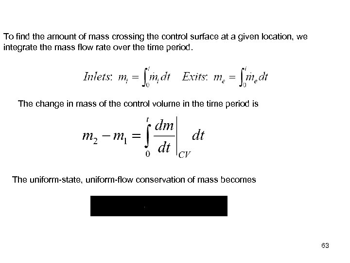 To find the amount of mass crossing the control surface at a given location,